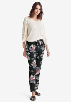 Woven Soft Pants by ellos®, BLACK ROSE FLORAL