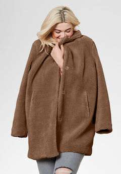 Teddy Faux Fur Coat, WALNUT BROWN