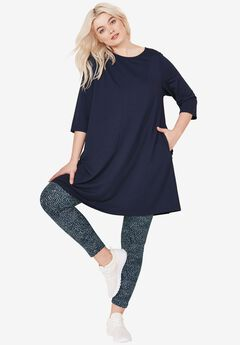 Leggings by ellos®, NAVY/WHITE DOT PRINT