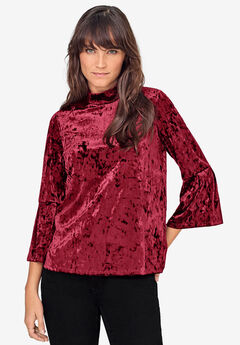 Bell-Sleeve Velour Tee by ellos®, FRESH POMEGRANATE