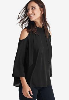 Cutout-Shoulder Tie-Back Blouse by ellos®,