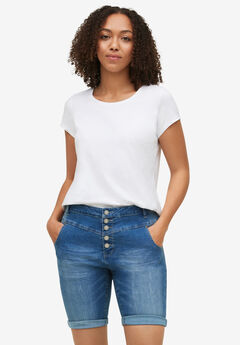 Button-Front Denim Shorts, LIGHT STONEWASH