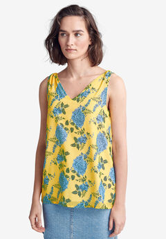 Tie-Shoulder Blouse by ellos®, PRIMROSE YELLOW FLORAL