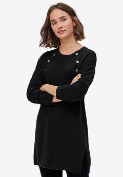 Button-Trim Sweater Tunic,