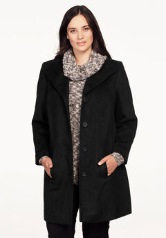 Brushed Wool Blend Button Coat by ellos®,