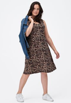 Fit and Flare Knit Dress by ellos®, NATURAL ANIMAL PRINT