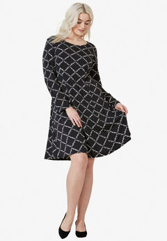 Long Sleeve A-line Knit Dress,