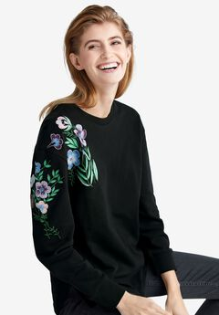 Floral Embroidered Sweatshirt by ellos®,