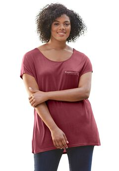 Zip Pocket Knit Tunic by ellos®,