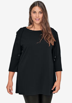 Lace-Up Shoulder Tunic by ellos®, BLACK