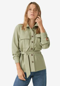 Belted Utility Shirt Jacket,