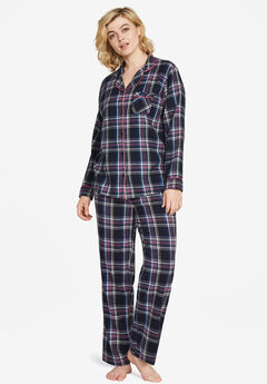 Plaid Flannel Pajama Set, NAVY MULTI PLAID