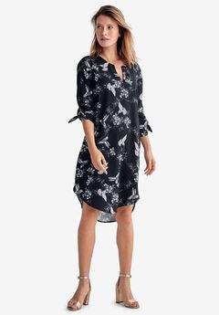 High-Low Shift Dress by ellos®, BLACK BIRD PRINT
