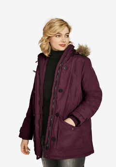 Faux Fur Trim Parka, MIDNIGHT BERRY