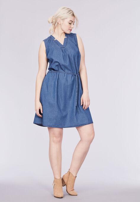 Sleeveless Belted Denim Dress by ellos®