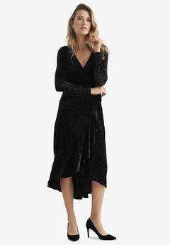 Selina Velvet Wrap Midi Dress,