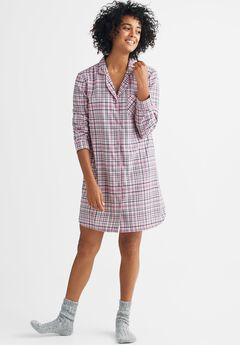 Flannel Button-Down Sleepshirt by ellos®,