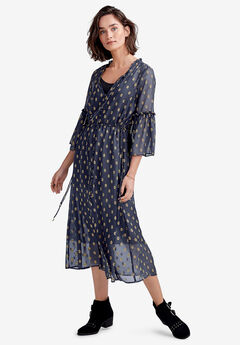 Ruffle-Sleeve Sheer Midi Dress by ellos®, NAVY