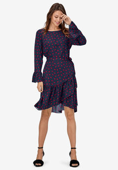 Wrap Skirt Dress by ellos®, NAVY RED LIPS