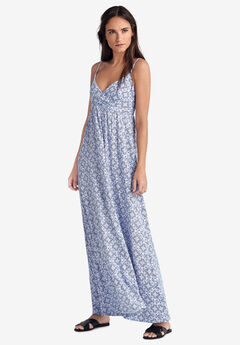 Knit Surplice Maxi Dress by ellos®, WHITE BLUE TILE