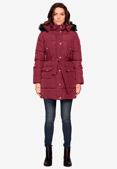 Belted Puffer Coat by ellos®, MAROON RED