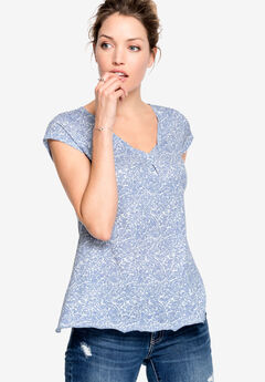 Twisted V-neck Tee by ellos®, BLUE PAISLEY PRINT