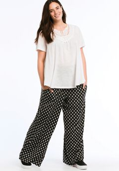 Pleated Wide Leg Knit Pants by ellos®, BLACK WHITE PRINT