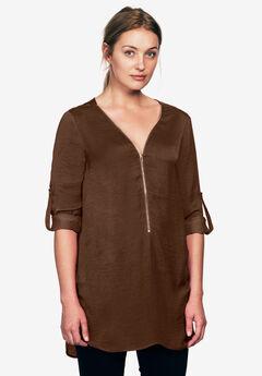 Zip-front sateen tunic by ellos®,