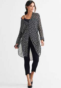 Sheer Button-Front Print Tunic by ellos®, BLACK WHITE HEART PRINT