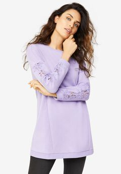Lace Trim Sweatshirt Tunic, JASMINE