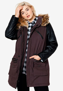 Quilted Faux Leather Sleeve Parka by ellos®, DEEP BIRCH