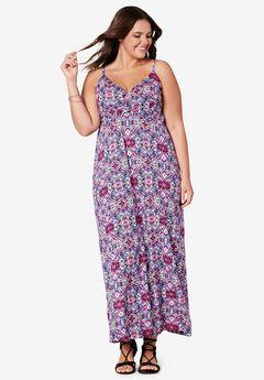 Knit Surplice Maxi Dress by ellos®, DEEP PINK MULTI PRINT