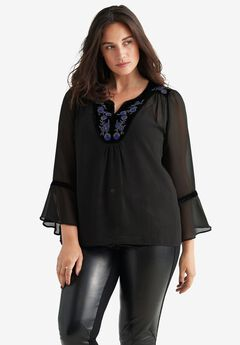 Beaded Velvet Trim Sheer Blouse by ellos®,