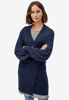 Blouson Sleeve Open Cardigan by ellos®, NAVY