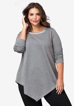 Embellished Point Hem Sweatshirt by ellos®,