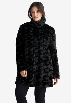 Funnel Neckline Faux Fur Coat by ellos®,