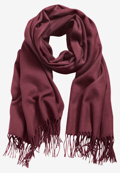 Fringe Trim Scarf by ellos®, DEEP WINE
