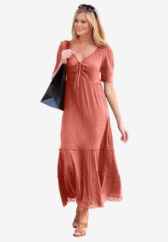 Gauze Maxi Dress by ellos®, DUSTY CORAL