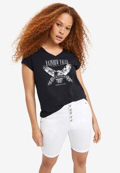 Bermuda Denim Shorts by ellos®, WHITE