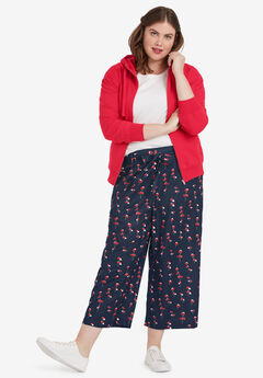 Wide-Leg Cropped Pants by ellos®, NAVY FLORAL PRINT