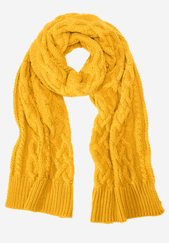 Cable Knit Scarf by ellos®, SUNSET YELLOW