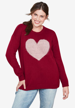 Love Ellos Sweater by ellos®, RICH BURGUNDY OYSTER GREY