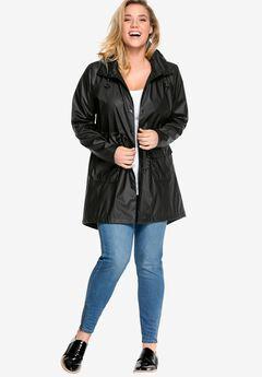 Hooded Anorak Raincoat by ellos®, BLACK