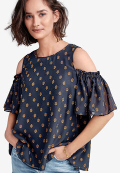 Cold-Shoulder Sheer Sleeve Blouse by ellos®,