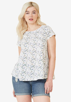 Trapeze Knit Tee by ellos®, FLORAL PRINT