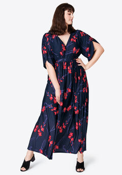 Harper Fit & Flare Maxi by ellos®, NAVY RED PRINT