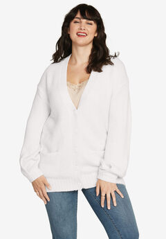 Soft Relaxed Button-Front Cardigan by ellos®,