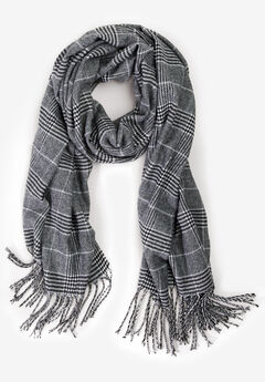 Fringe Trim Scarf by ellos®, BLACK WHITE PLAID