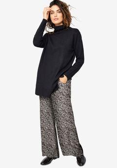 Wide-Leg Soft Pants with Back Elastic, BLACK GREY PRINT