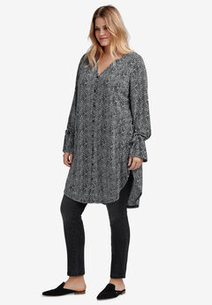 Tie-Sleeve Button-Front Tunic by ellos®, BLACK WHITE DOT